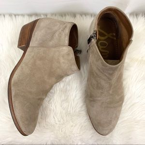 Sam Edelman Petty Taupe Suede Ankle Bootie